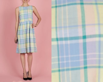 Adorable Vintage 90s Pastel Plaid XS Sleeveless Dress