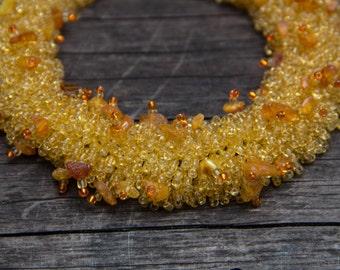 Yellow Beaded Necklace Natural Amber Sunshine Necklace Collier d'ambre Jaune Collana Ambra Gialla collar de ámbar amarillo Ожерелье Янтарь