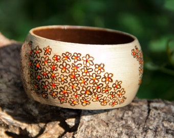 Handpainted wooden bracelet with floral pattern, beige and brown colors bangle