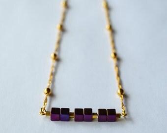 Violet Hematite stone cube on 18K Gold filled Necklace/Hematite Necklace/Cube Necklace/Stone Bar Necklace/Modern Gemstone Elegant Necklace