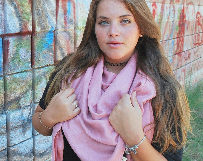 Christmas Gifts Pink Pashmina Solid Scarf Pink Shawl Oversize Scarf Gift For Her Pink Scarf Large Scarf Pink Scarf Long Scarf Pashmina Scarf