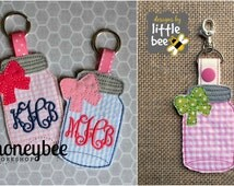 DIGITAL ITEM mason jar key fob AND snap tab keychain bow embroidery applique design pes dst +more. Instant Download monogram 4x4 5x7