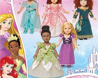 "New Disney Princess', 18"" AG Doll Costumes, Simplicity Pattern 1219,  includes Princess Jasmine, Ariel, Merida, Tiana, and Rapunzel, UN-CUT"