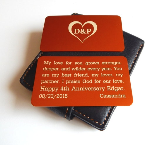 Wedding Anniversary Gift For My Husband : 4th Wedding Anniversary Gift to my Husband, Wallet Insert,Gift from ...
