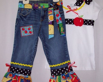 Custom boutique Back to School girls jeans & ribbon shirt set sizes 3T - 8