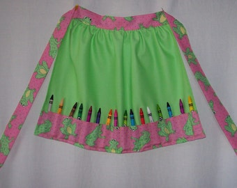 Little Girls Crayon Apron Green Froggies, Mickey Minnie, ABC's, I Love Bugs, Love & Peace