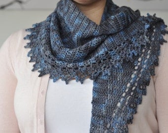 Crochet Shawlette or Lace Scarf / Hand Dyed Grey Blue / Corriedale Wool Blend / 'Spring Crescent' Design
