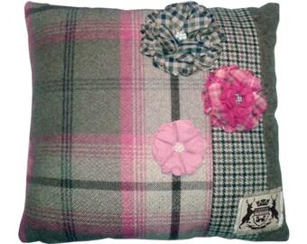 Tweed flower cushion