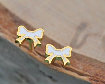 White and Gold Bow Sterling Silver Earrings, Bow Earrings, Sterling Silver Earrings, Sterling Silver Jewelry, 100% Sterling Silver