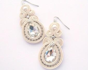 Bridal earrings, wedding earrings, ivory earrings, crystal earrings, drop earrings, embroidered jewelry, soutache earrings, chic earrings