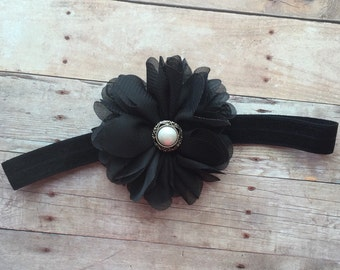 Baby Girl Black Headband, Newborn Headband, Baby Headband, Shabby Chic Headband, Black Headband, Toddler Headband, Baby Photos, Vintage