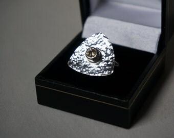 Modern chic sterling silver ring