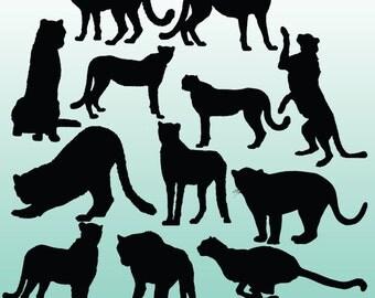10 Cheetah Silhouette Digital Clipart Images, Clipart Design Elements, Instant Download, Black Silhouette Clip art