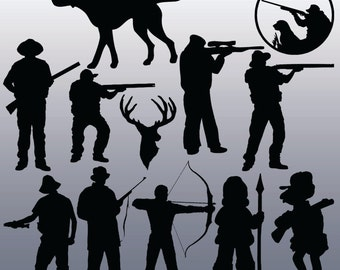 12 Hunting Silhouettes Digital Clipart, Clipart Design Elements, Instant Download, Black Silhouette Clip art