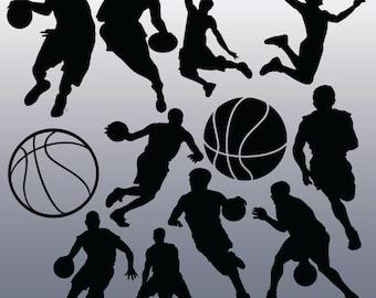 12 Basketball Silhouette Digital Clipart Images, Clipart Design Elements, Instant Download, Black Silhouette Clip art
