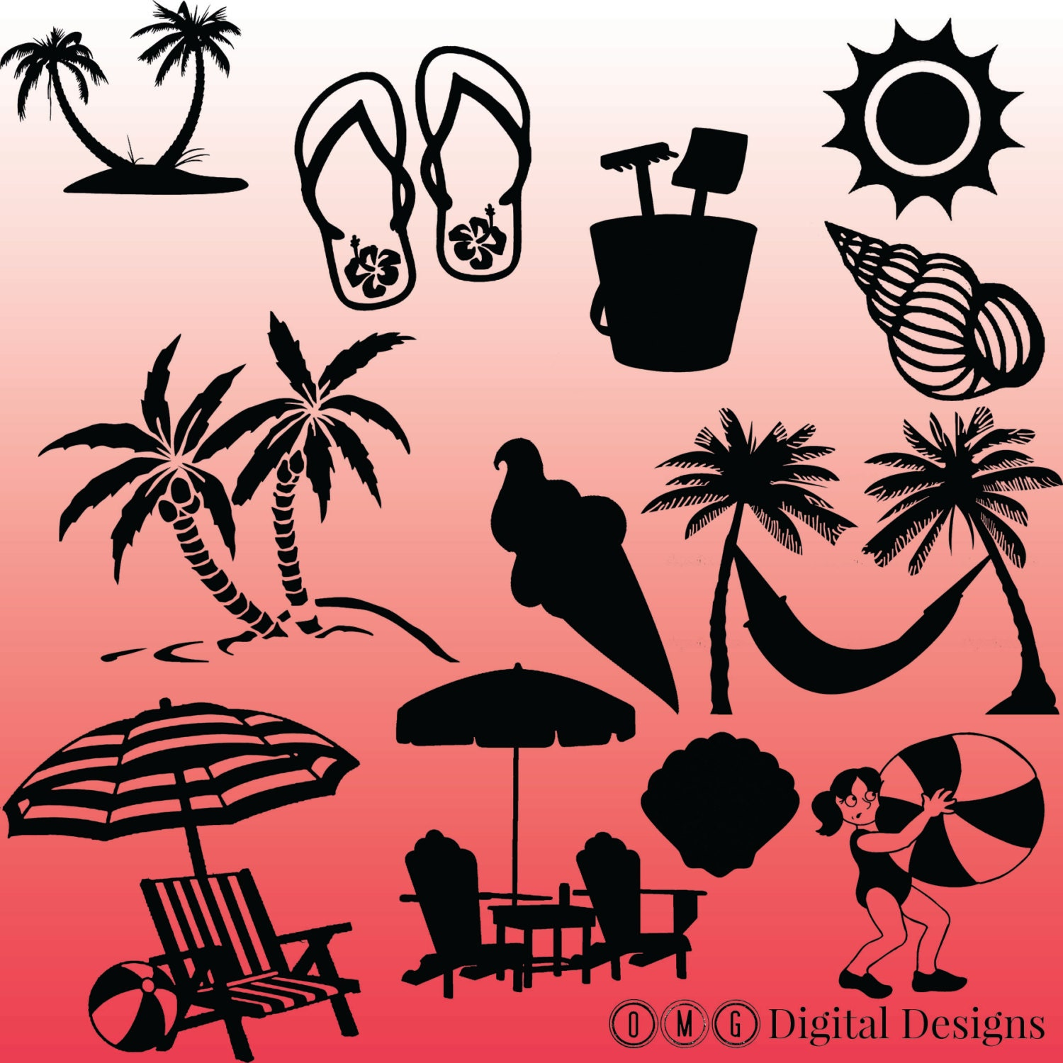 12 Beach Silhouette Images Digital Clipart Images