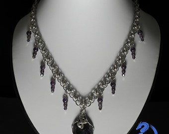 Gothic Amethyst Chain Maille Necklace