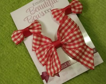 Gingham School Hair bow Set ( Red)