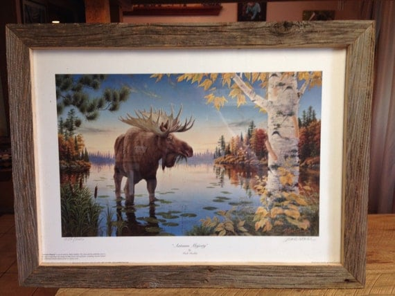 Reclaimed Barn Wood Moose in Autumn Picture Frame