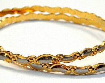 22k Two Tone Gold Indian Bangles # 252061486507