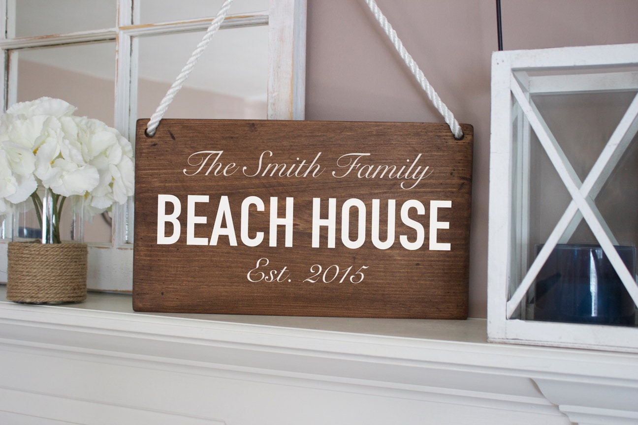 Beach decor custom beach house sign custom wood sign for Custom beach house
