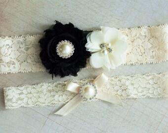 Black Wedding Garter Set Bridal Ivory Rhinestone Lace