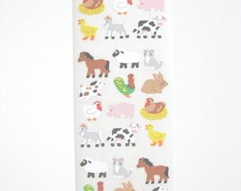 Sandylion Semi gloss Paper Farm Animal Stickers - 3 repeat squares