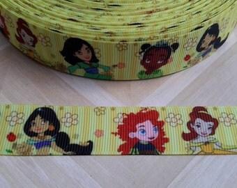 """5 Yards of 7/8"""" Princess Printed Ribbon, Grosgrain Ribbon, Hair Bow Supply, DIY Supply"""