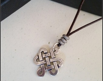 Men's Celtic knot necklace, symbolic spiritual jewelry for men, mens leather infinity necklace, ethnic jewelry for men, special gift for him