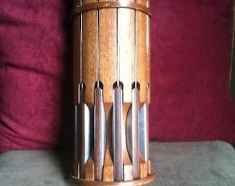Vintage Wooden Hanging Knife Block