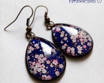 drops earrings * cherry blossom * sakura pink blue Japan, cabochon glass
