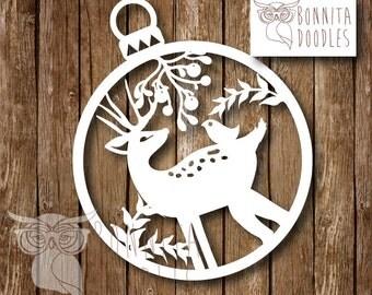 Deer christmas Commercial paper cut template