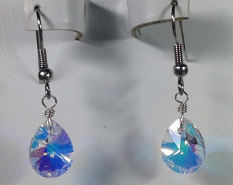 Swarovski Crystal Iridescent Teardrop Earrings -SCD023