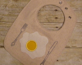 Baby Bib / Fried Egg / Triple Layered / 100% cotton / Fits 3 months to 2 years +