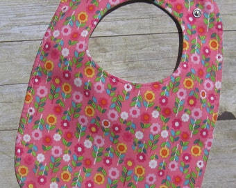 Baby Bib / Flowers / Triple Layered / 100% cotton / Fits 3 months to 2 years +