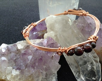 Copper and Garnet Bracelet/Bangle