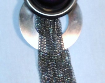 Vintage Silver and Purple Stone Brooch with Chains