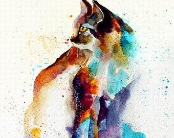 Custom original Pet watercolor portrait-Unique style Pets portrait Watercolor painting Cat portrait-Dog portrait etc-one figure