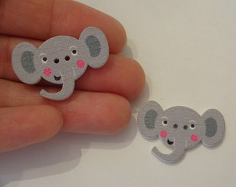 2 pcs elephant heads wooden buttons 20x30x2.5mm scrapbook children crafts two holes