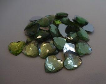 30 light green resin hearts 11x11 mm flatback cabochon embellishment flatback scrapbook DIY phone resin cabochon hearts