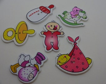 6 pcs new baby wooden buttons red scrapbook children crafts two holes