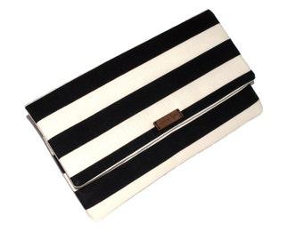 Large Custom Black and White Striped Clutch
