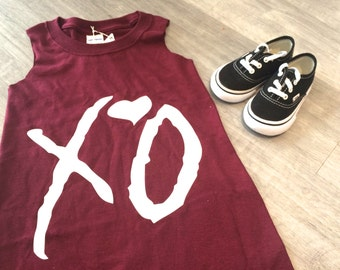 SALE -  'XO' upcycled romper