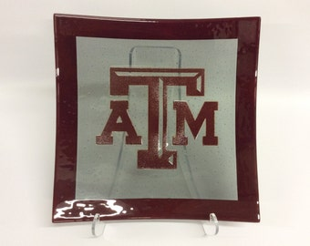 Texas A&M Aggie Maroon and Gray Glass Platter - 15.25 inch Square