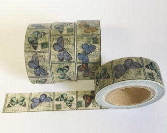 Washi Tape Butterflies Antique Style Butterfly Postal Stamp Decorative Tape 15mm / 10 Yards
