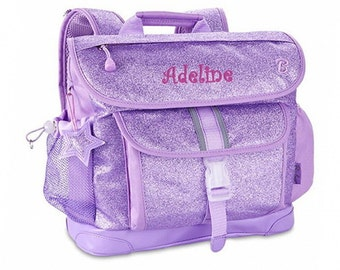 "Personalized Bixbee ""Sparkalicious"" Glitter Backpack - Purple (Medium)"