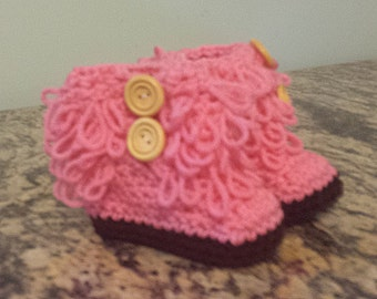 Pink Loopy Baby Booties