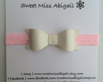 Pink Heart Headband | White Bow Headband | Baby Girl Headband