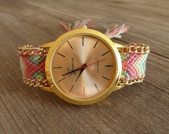 Wrist watch XL braided bracelet