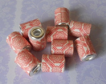 10 Hand made paper tube beads, red and white